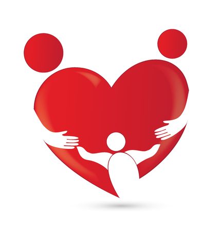 Family union in a heart shape logo vector image template Illustration