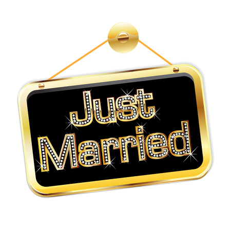 romantic date: Just married golden bling bling sign logo vector image design Illustration
