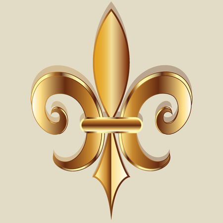 shiny: Gold elegant Fleur De Lis. Flower symbol logo icon vector image template Illustration