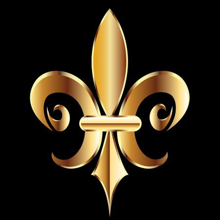 Gold Fleur De Lis. Flower New Orleans Symbol logo template