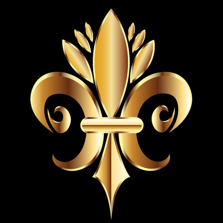 Gold Fleur De Lis. Flower New Orleans Symbol logo icon vector image template