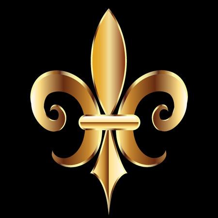 ゴールド フルール ・ ド ・ リス。ニユー ・ オーリンズのシンボル花ロゴ アイコン ベクトル イメージ テンプレート