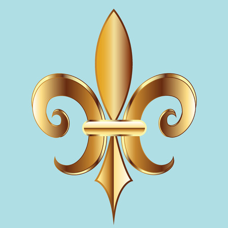 shiny background: Gold Fleur De Lis. New Orleans golden symbol flower logo icon vector image template