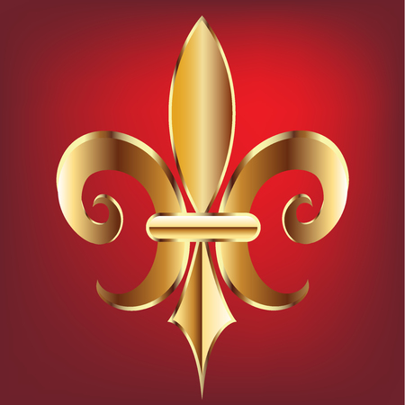 royalty free: Fleur De Lis. New Orleans gold symbol flower logo template