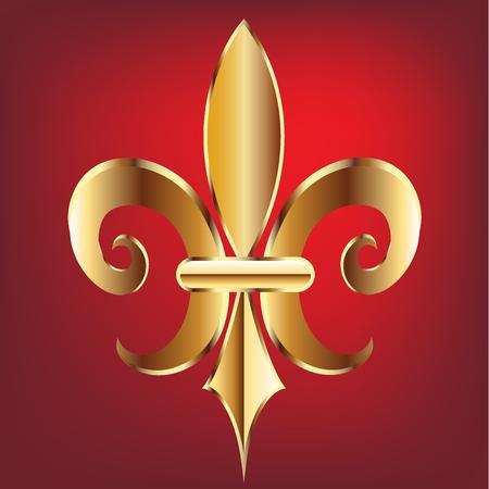 Fleur De Lis. New Orleans gold symbol flower logo template