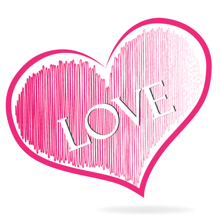 Love word pink heart symbol logo vector icon image template