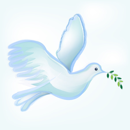 white background: Dove silhouette vector logo watercolor. Catholic image symbol