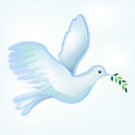 Dove silhouette vector logo watercolor. Catholic image symbol