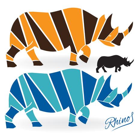 Rhinoceros set logo icon vector silhouettes image Illustration
