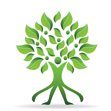 people icon: Tree ecology green abstract man logo vector design