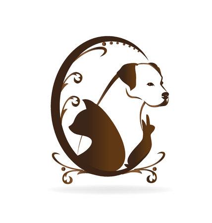 dog: Cat dog and rabbit vintage silhouettes logo design vector icon Illustration