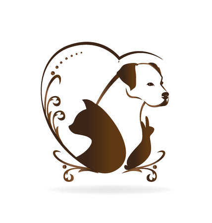 Cat dog rabbit bird vintage logo silhouettes design vector icon