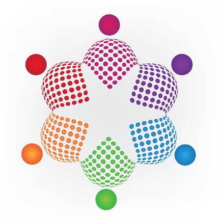 together voluntary: Abstract teamwork logo star shape vector image