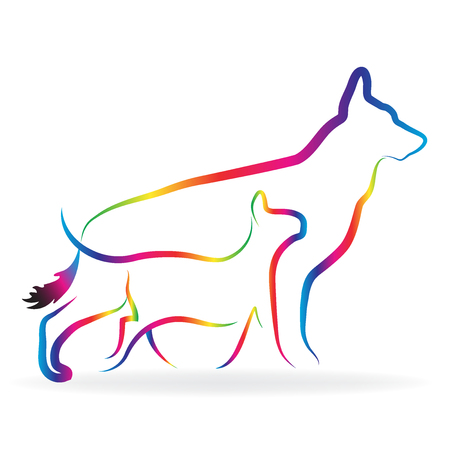 line drawings: Dog and cat silhouettes logo vector image Illustration
