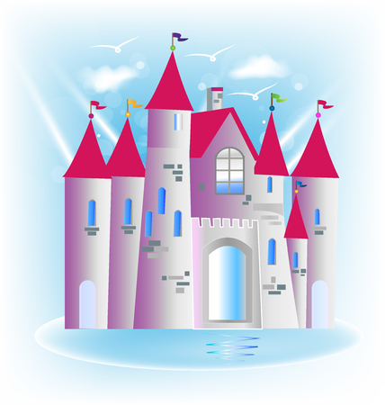 Princess castle fairy tale logo art design vector image