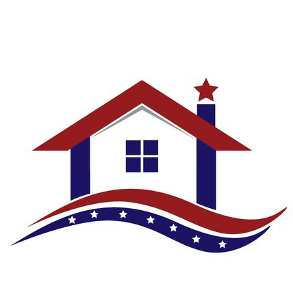 home icon: American house logo vector design