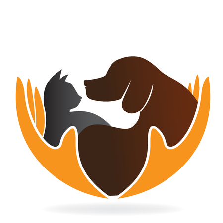 猫と犬のロゴのベクトル イメージのデザインを気遣うことの手  イラスト・ベクター素材