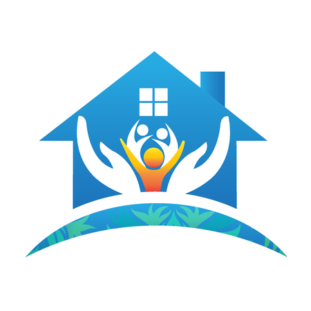 Family house people logo vector image