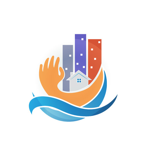 Modern buildings hand protection. Insurance concept logo vector