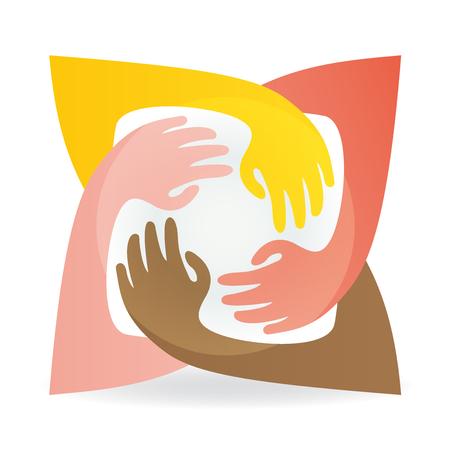 Teamwork hug hands people around colorful image icon logo vector 일러스트