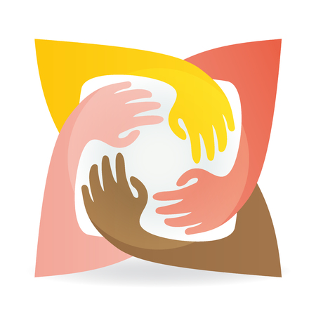 Teamwork hug hands people around colorful image icon logo vector Illustration