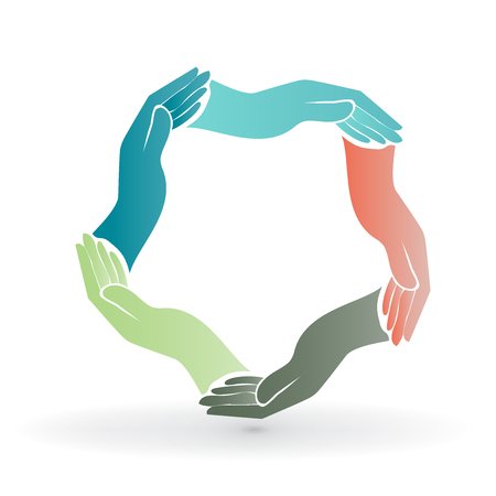 Teamwork hands people around colorful image icon logo vector