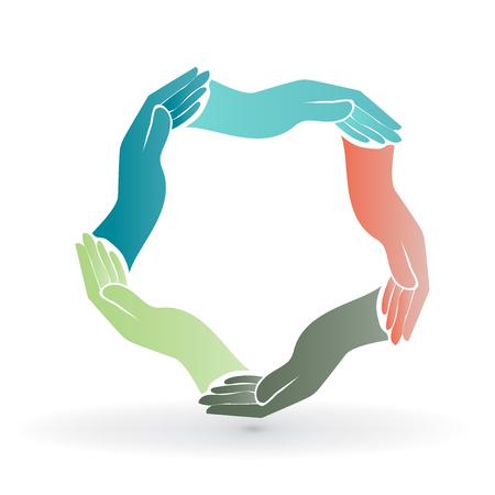 sinergia: Trabajo en equipo manos de la gente alrededor de imagen colorida icono vector de logotipo