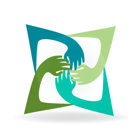 green environment: Teamwork hug hands people around colorful image icon logo vector Illustration