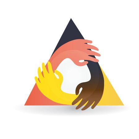 hand print: Teamwork hands hug around colorful logo vector