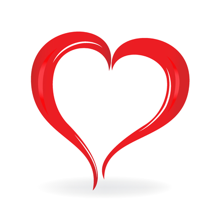 romance: Heart love. Valentines symbol logo