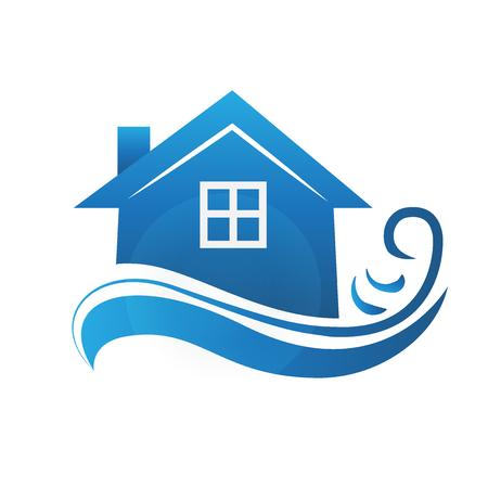Casa azul con el modelo de la imagen del vector del símbolo de las ondas