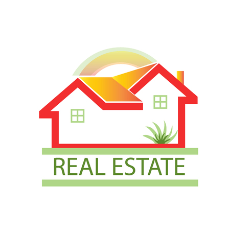 Houses apartments with sun and green garden vector icon logo Illustration
