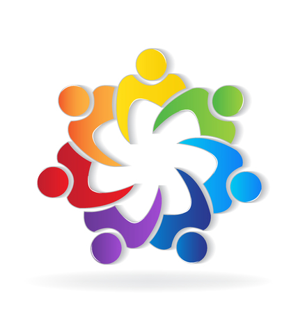 royalty free: Teamwork union people logo vivid colors vector image