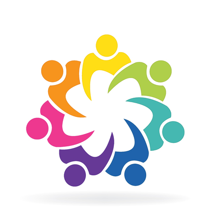 Teamwork union people charity concept vector image logo