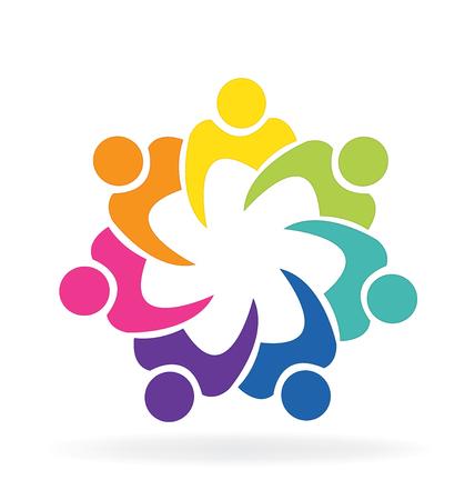 rainbow: Teamwork union people charity concept vector image logo