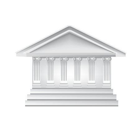 line drawings: Columns ancient greek historic bank building logo template