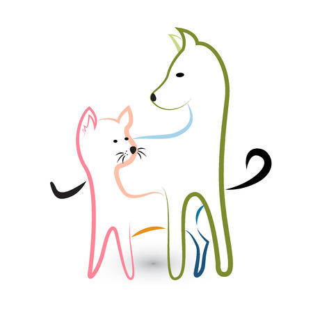 Cat and dog silhouette logo image vector Illustration