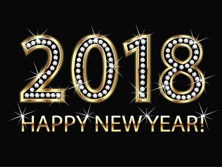 beginnings: Happy new year 2018 gold background vector