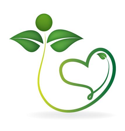Gezonde groene bladeren met hart vorm icoon vector logo sjabloon