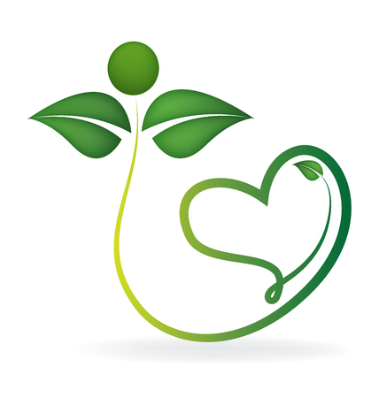 Healthy green leafs with heart shape icon vector logo template