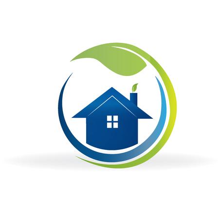 Ecologie huis onroerend goed beeld logo vector ontwerp