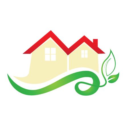 building: Ecology house real estate image logo vector design Illustration