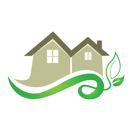 Ecology house real estate image logo vector design Illustration
