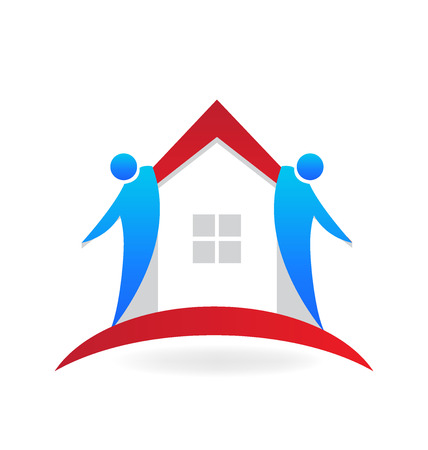 Teamwork agents house shape real estate logo vector design Illustration
