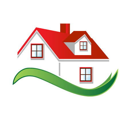 help: House real estate image logo vector design