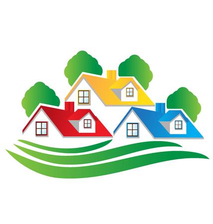 Casas imagen de bienes raíces logo vector de diseño Logos