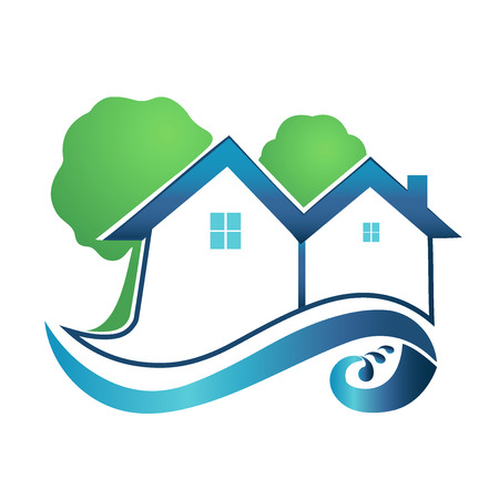home: Houses trees waves real estate image logo vector design Illustration