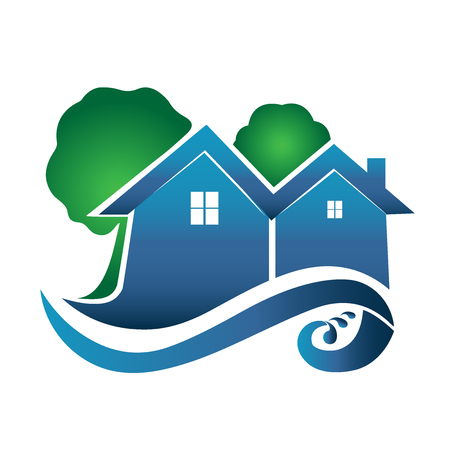 Houses trees waves real estate image logo vector design Illustration