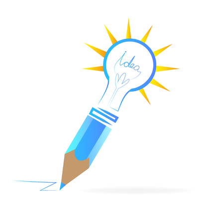 contemporary: Creating ideas blue pencil graphic art logo vector image