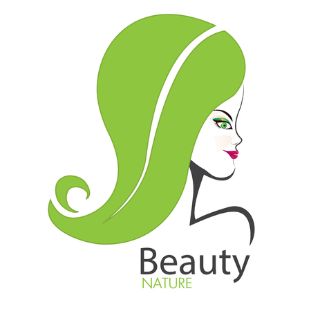 Girl face with swirly leaf hair logo vector image. Illustration